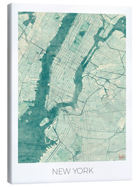 Canvas print  Map of New York, Blue - Hubert Roguski