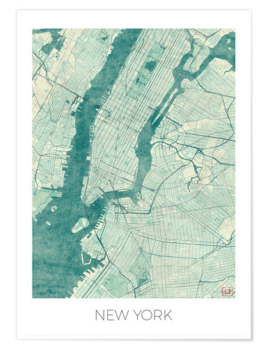 Poster New York Map Blue
