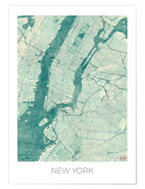 Premium poster  Map of New York, Blue - Hubert Roguski