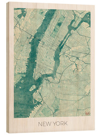 Wood  New York Map Blue - Hubert Roguski