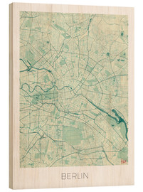 Wood  Berlin Map Blue - Hubert Roguski