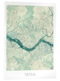 Acrylic print  Seoul Map Blue - Hubert Roguski