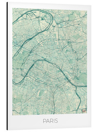 Aluminium print  Paris Map, Blue - Hubert Roguski