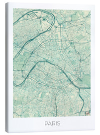 Canvas print  Paris Map, Blue - Hubert Roguski