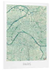 Foam board print  Paris Map, Blue - Hubert Roguski
