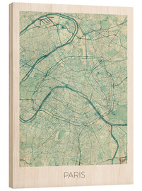 Wood print  Paris Map, Blue - Hubert Roguski