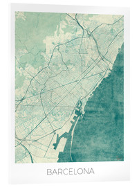 Acrylic glass  Barcelona Map Blue - Hubert Roguski