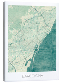 Canvas  Barcelona Map Blue - Hubert Roguski