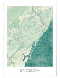 Premium poster Map of Barcelona in blue