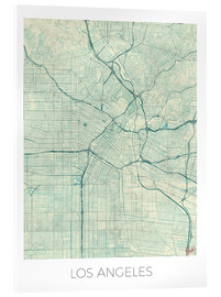 Acrylic print  Los Angeles Map Blue - Hubert Roguski