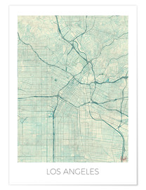 Premium poster  Los Angeles Map Blue - Hubert Roguski