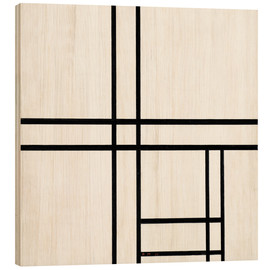 Wood print  Composition in White and Black - Piet Mondriaan