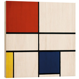 Wood print  Composition c no iii with red yellow and blue - Piet Mondrian