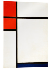 Acrylic print  composition with red and blue - Piet Mondrian
