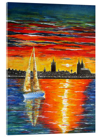 Acrylic print  Sailboat in the sunset in front of Cologne - siegfried2838