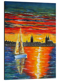 Aluminium print  Sailboat in the sunset in front of Cologne - siegfried2838