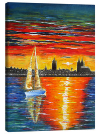 Canvas print  Sailboat in the sunset in front of Cologne - siegfried2838