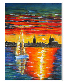 Premium poster Sailboat in the sunset in front of Cologne