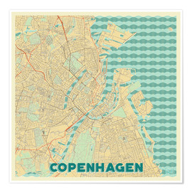 Premium poster  Copenhagen Map Retro - Hubert Roguski