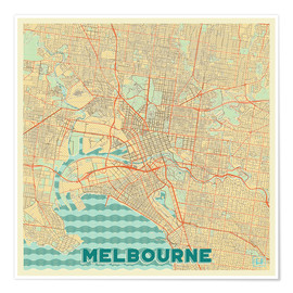 Premium poster  Melbourne Map Retro - Hubert Roguski
