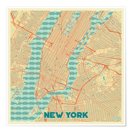 Premium poster  New York Map Retro - Hubert Roguski