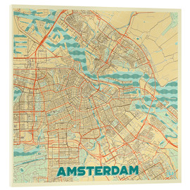 Acrylic glass  Amsterdam Map Retro - Hubert Roguski