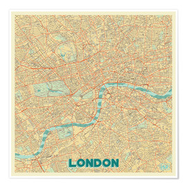 Premium poster  London Map Retro - Hubert Roguski
