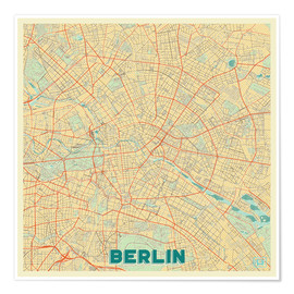 Premium poster  Berlin Map Retro - Hubert Roguski