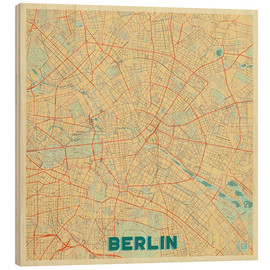 Wood print  Berlin Map Retro - Hubert Roguski