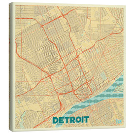 Canvas print  Detroit Map Retro - Hubert Roguski