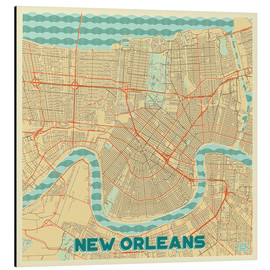 Aluminium print  New Orleans Map Retro - Hubert Roguski