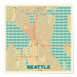 Premium poster Seattle Map Retro