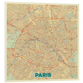 Foam board print  Paris Map Retro - Hubert Roguski