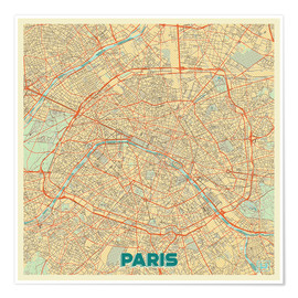 Premium poster Paris Map Retro