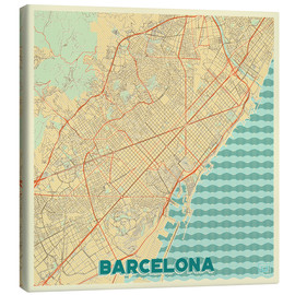 Canvas  Barcelona Map Retro - Hubert Roguski