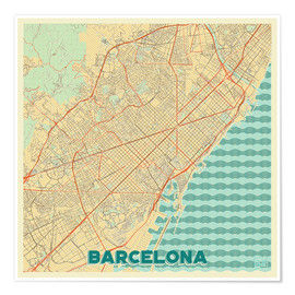Poster  Barcelona Map Retro - Hubert Roguski