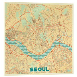 Acrylic print  Seoul Map Retro - Hubert Roguski
