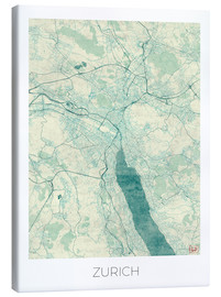 Canvas print  Zurich Map Blue - Hubert Roguski