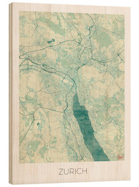 Wood print  Zurich Map Blue - Hubert Roguski