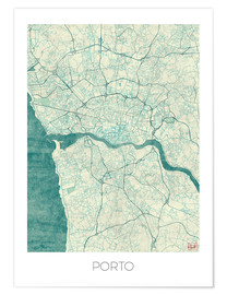 Premium poster  Porto Map Blue - Hubert Roguski