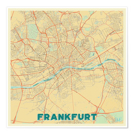 Premium poster  Frankfurt Map Retro - Hubert Roguski