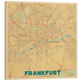 Wood  Frankfurt Map Retro - Hubert Roguski