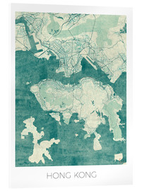 Acrylic glass  Hong Kong Map Blue - Hubert Roguski