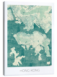 Canvas  Hong Kong Map Blue - Hubert Roguski