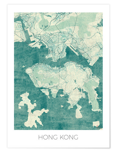 Premium poster Hong Kong Map Blue