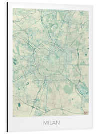 Aluminium print  Milan Map Blue - Hubert Roguski