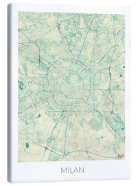Canvas print  Milan Map Blue - Hubert Roguski