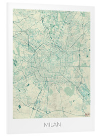 Foam board print  Milan Map Blue - Hubert Roguski