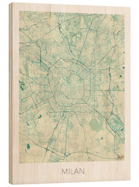 Wood print  Milan Map Blue - Hubert Roguski