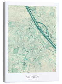 Canvas print  Map of Vienna, blue - Hubert Roguski